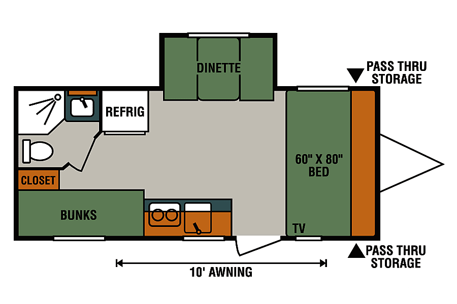 floorplan 2018 KZ Escape 191BH, bunkhouse, queen bed, electric awning and slide out Arvada, CO