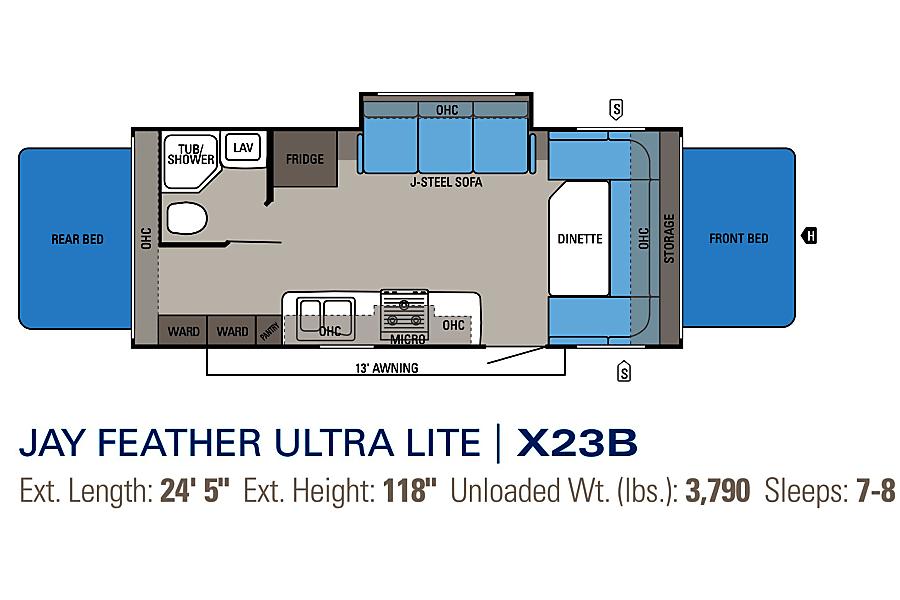 floorplan Easy Tow Jayco Jay Feather Ultra Lite Apopka, FL