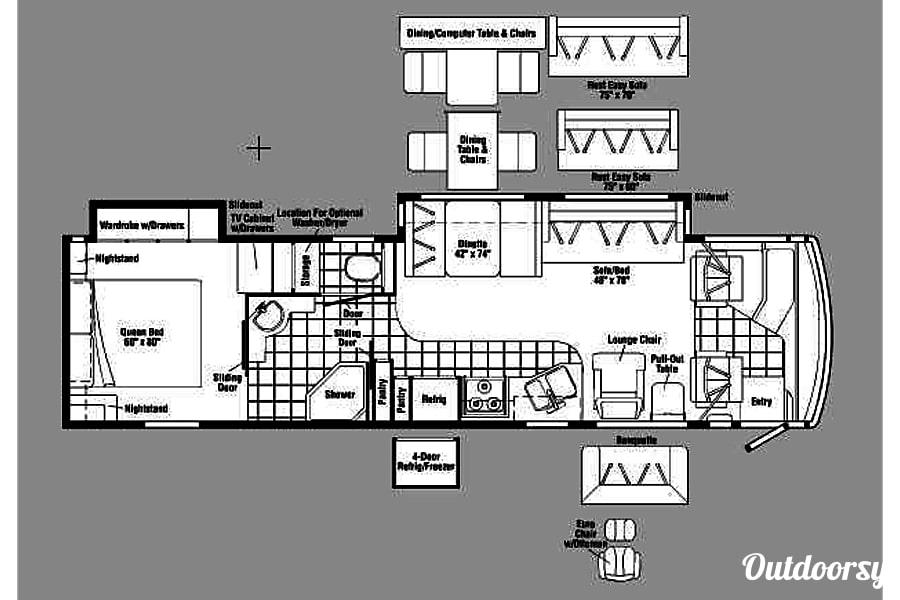 floorplan Luxury Winnabago Journey SE Like New Diesel Pusher Mandeville, LA