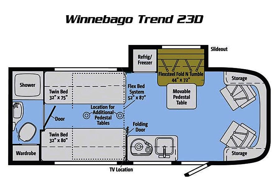 """floorplan 2016 Winnebago Trend """"Trendy"""" San Diego, CA"""