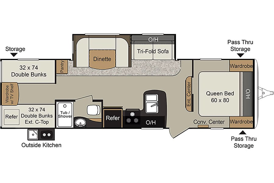 floorplan 2017 Keystone Passport Bunkhouse 505 RV Rentals New Mexico #ABQRV Rio Rancho Rancho, NM