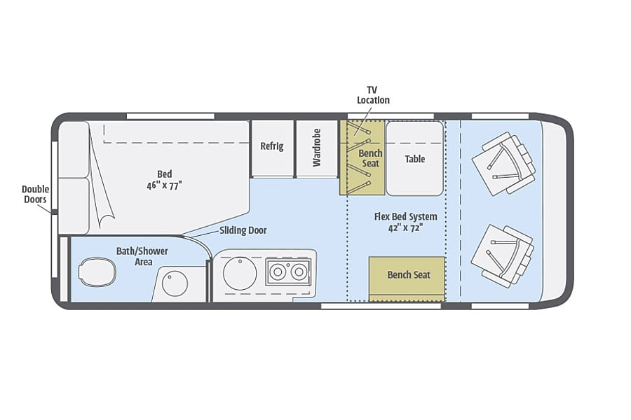"""Big Red"" 2015 Winnebago Travato - 59G in Phoenix Phoenix, Arizona Floorplan of inside."
