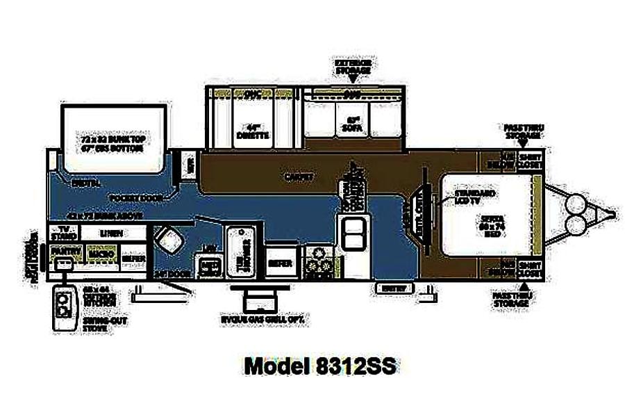 floorplan 2012 Forest River Rockwood Oudoor Kitchen Bunkhouse Rocklin, CA