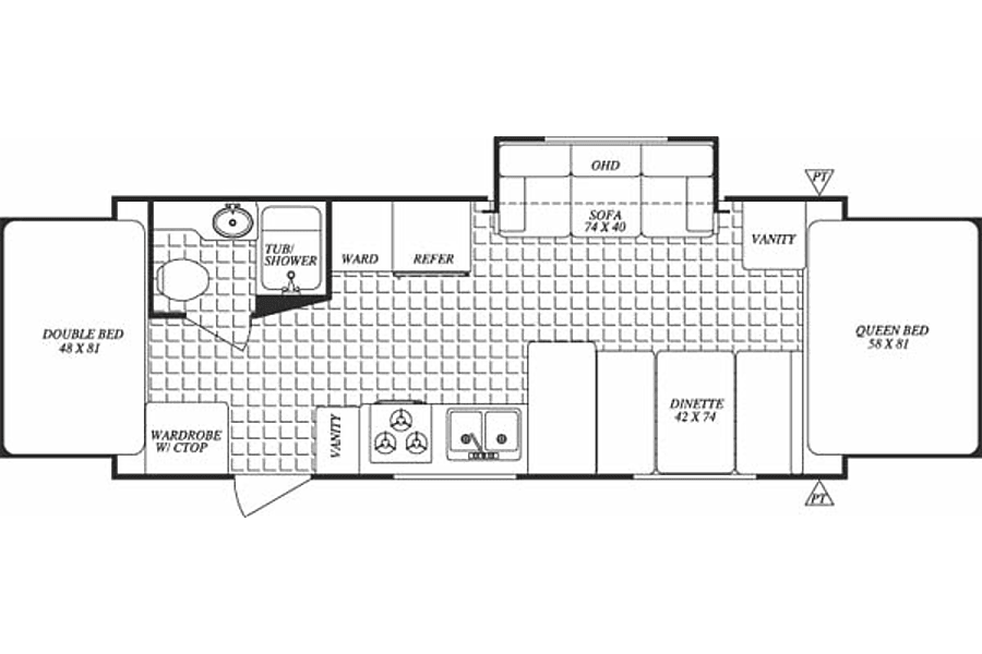 floorplan 2003 Forest River Surveyor Frederick, CO