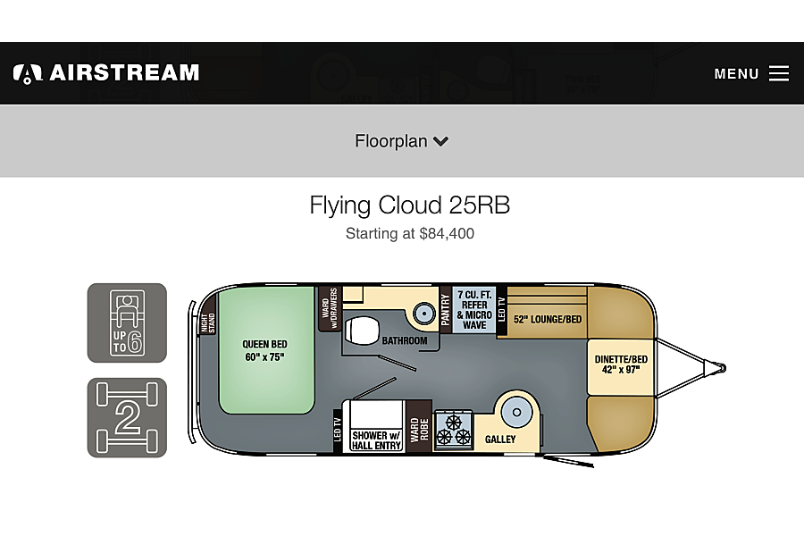 "floorplan 2016 Airstream Flying Cloud ""Sundance"" Erie, CO"