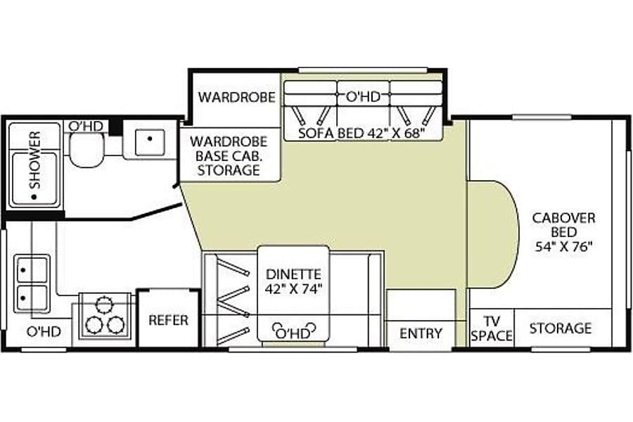 floorplan 2001 Fleetwood Tioga 23E Thousand Oaks, CA