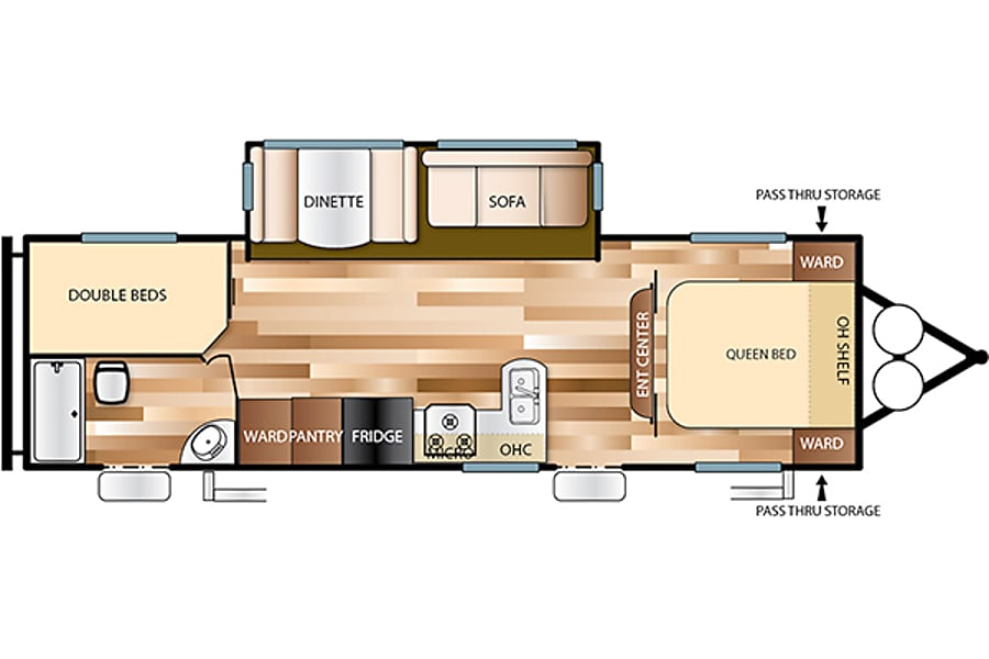 floorplan 26' Forest River Wildwood W/Bunk Beds and Slide-Out (T27) San Marcos, CA