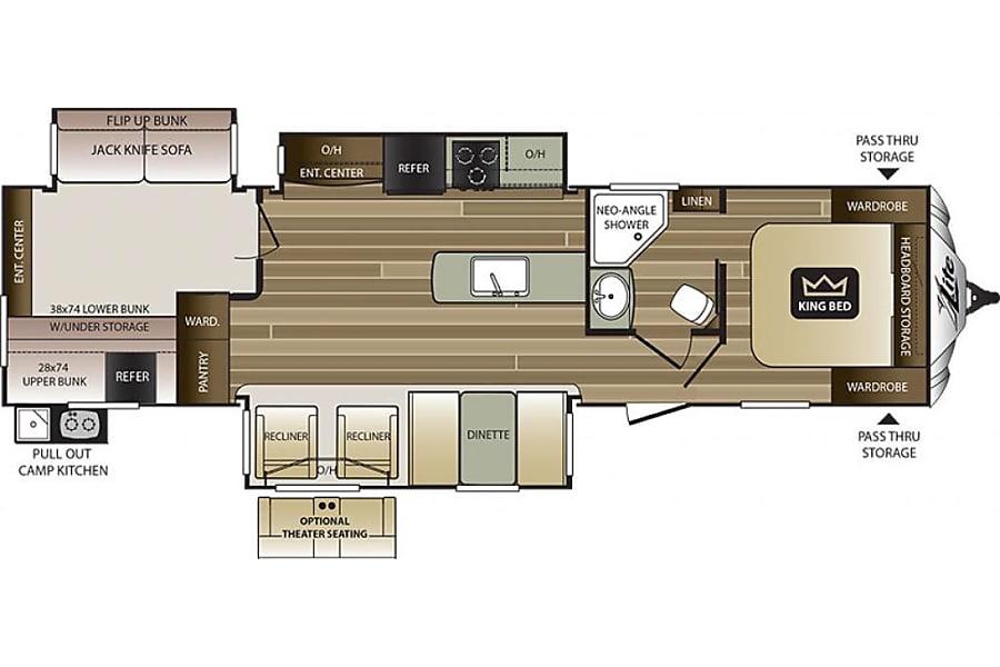floorplan 2018 Keystone Cougar 34TSB Bartlett, TN
