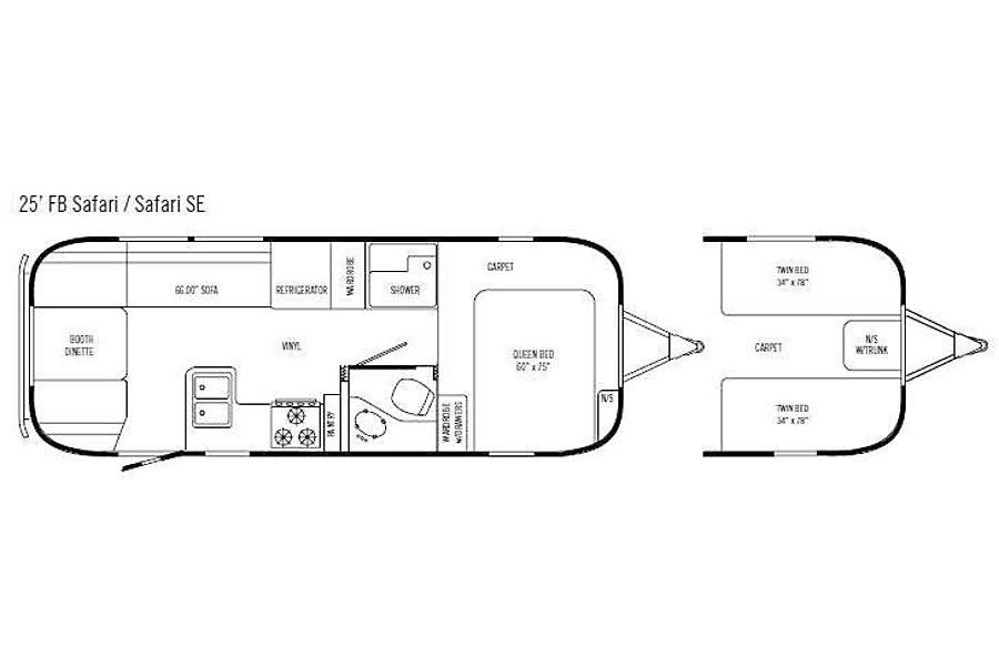 floorplan 2008 Airstream Safari 25' FB Denver, CO