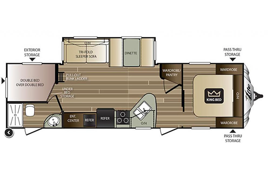 floorplan Brand New Lightweight Luxury Bunkhouse With King Bed (We Deliver) Monument, CO