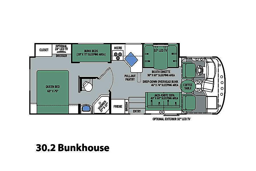 floorplan 2015 Bunkhouse - Thor A.C.E. Simpsonville, SC