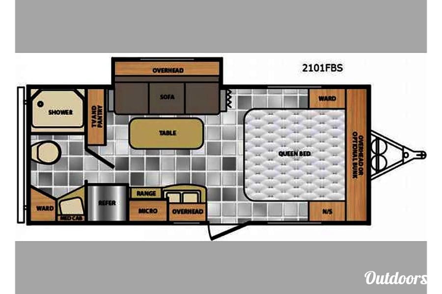 floorplan 2014 Red Winnebago Minnie Placerville, CA