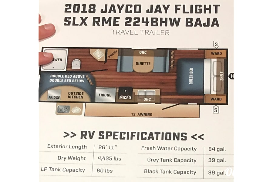 floorplan 2018 Jayco Baja Pulls light but sleeps 7 Rigby, ID