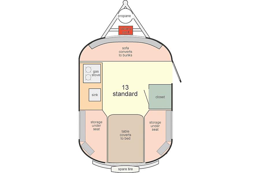 floorplan 2016 Scamp 13' Trailer - Ultralight Weight All Fiberglass Towable Camper Boise, ID