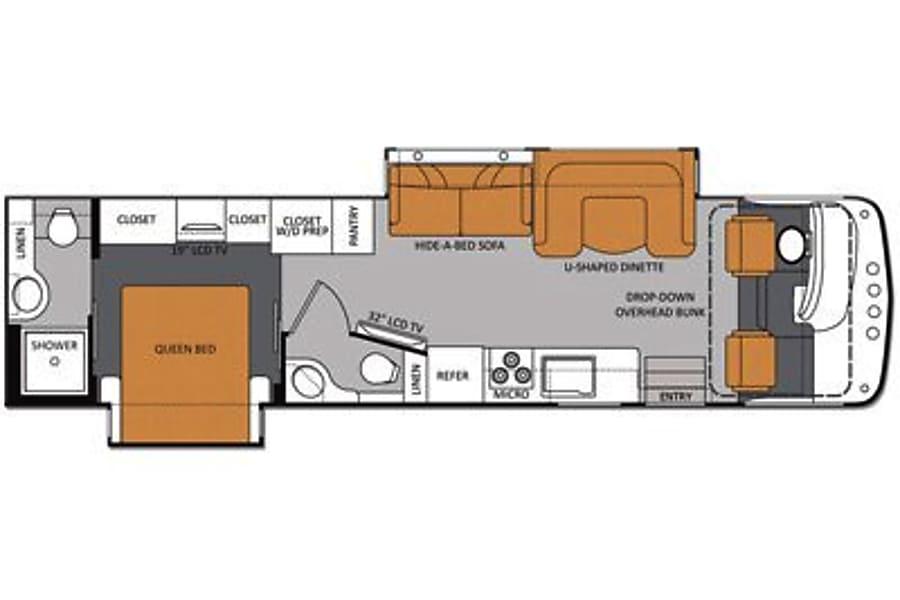 floorplan 2013 Thor Motor Coach Hurricane. 36 FT. Sleeps 8 Green, OH