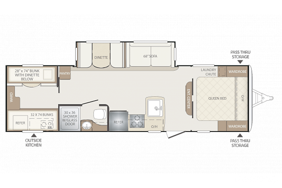 floorplan **Pet and Kid Friendly ** 2019 Keystone Bullet 287QBS Cheyenne, WY