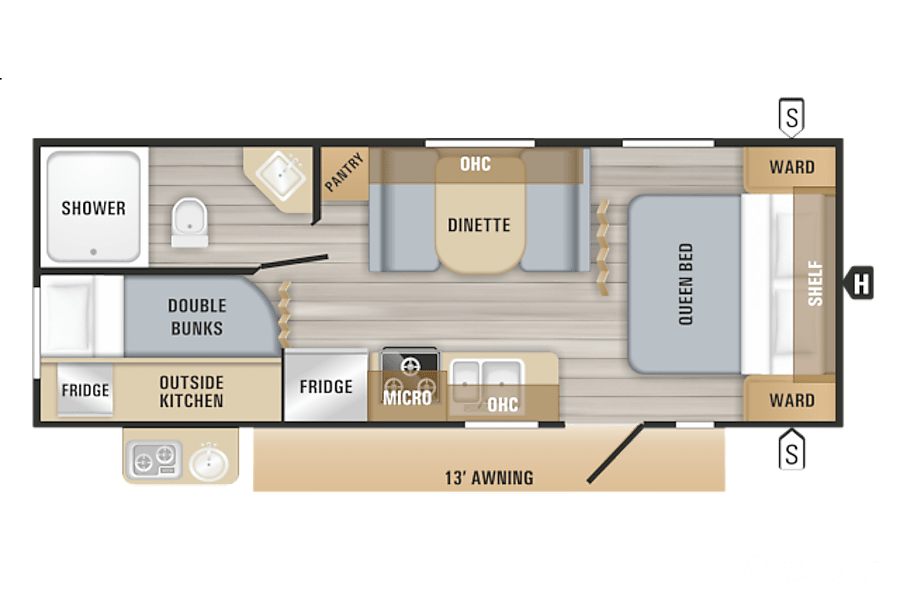 floorplan 2019 Jayco Jay Flight Chester, NH