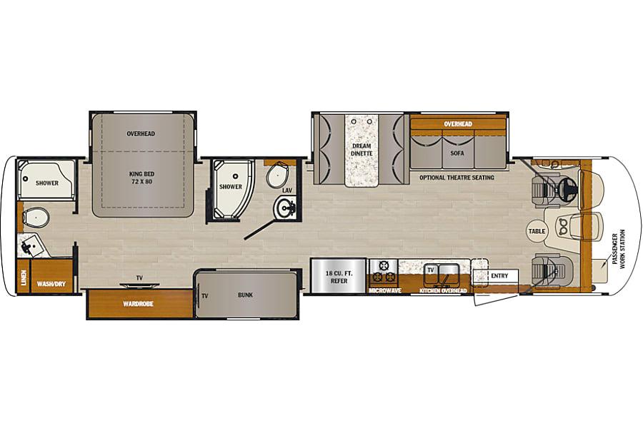 floorplan 2019 Georgetown GT5 36B5 - 2 full baths, 3 slides outs, bunks & king bed Phoenix, AZ