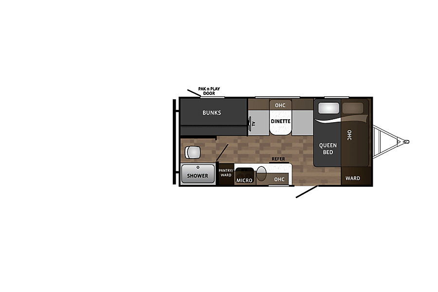 floorplan The Cub - 2019 Kodiak Cub - Sleeps 6 with tons of storage! Fort Worth, TX