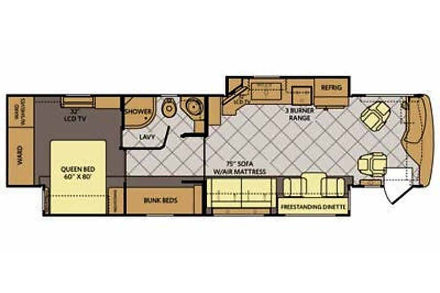 floorplan 40' Fleetwood Expedition Mishawaka, IN