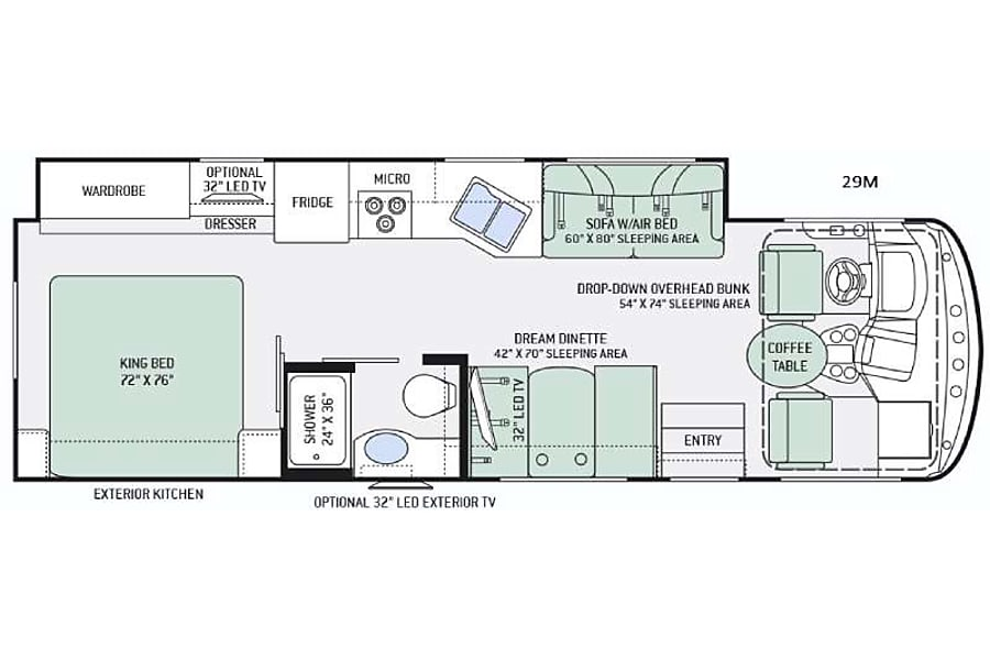 floorplan 2016 Thor Motor Coach Hurricane 29M New Port Richey, FL