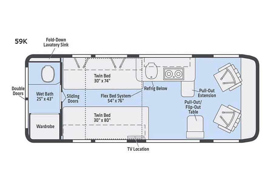 floorplan RV 17: 2019 Winnebago Travato 59K Herndon, VA