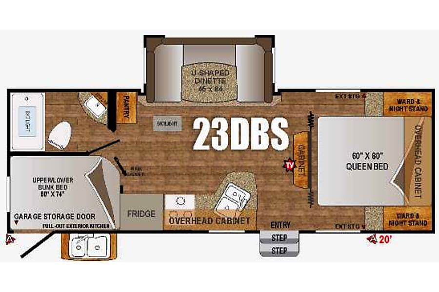 floorplan 2016 Outdoors Rv, Creek Side,  23ft bunkhouse Puyallup, WA