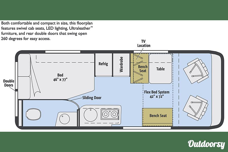 floorplan Winnebago Travato 59G- 1st Class! Centennial, CO