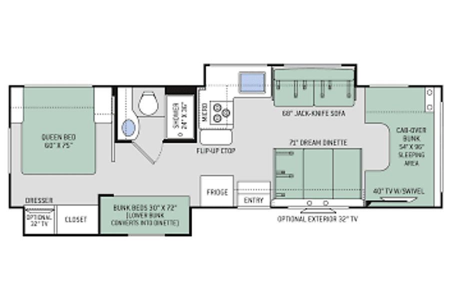 floorplan 2017 Thor Motor Coach Four Winds Rocky Point, NC