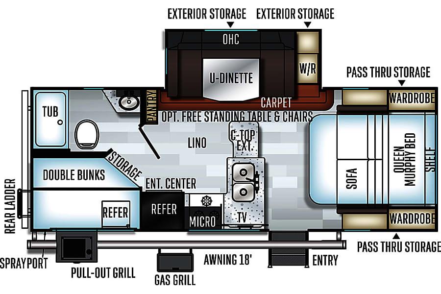 floorplan The Rock - 2018 Rockwood Mini Lite 2509S sleeps up to 8 =  Room for all the neighborhood kids! Fort Worth, TX