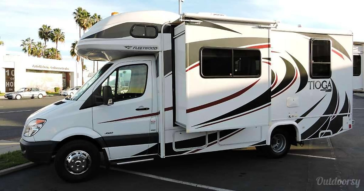 02013 Mercedes Sprinter Class C RV With Private Bedroom Cab Bed And Small Pull