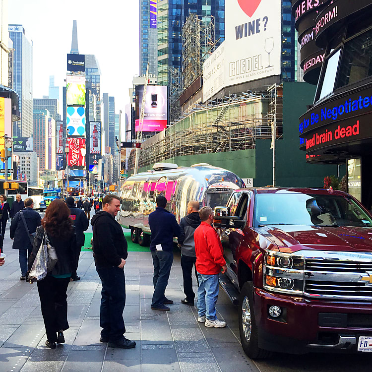 At Times Square on Good Morning America, towing Lucy, in May 2016.
