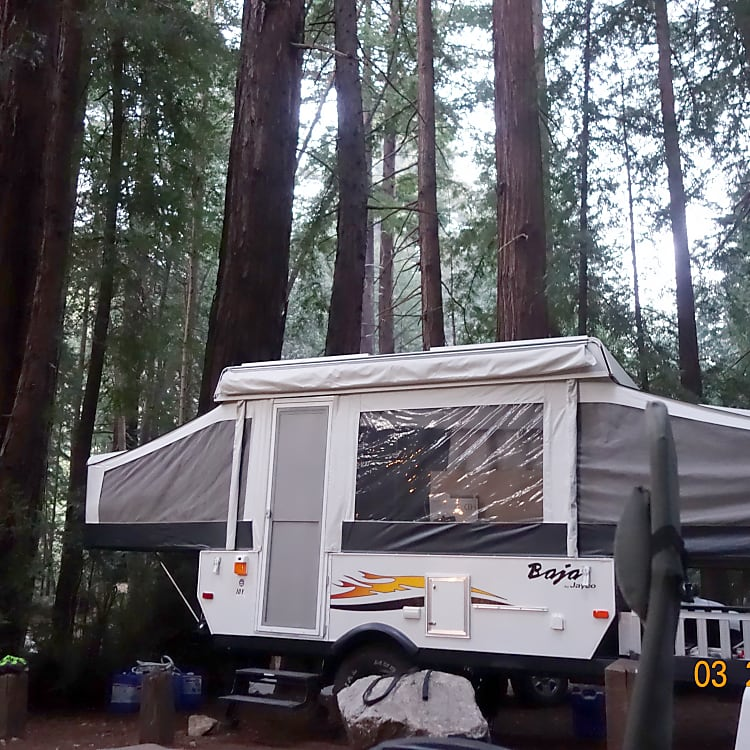 Pfeiffer Big Sur State Park Campground. My trailer is dwarfed by the 300 ft. trees.