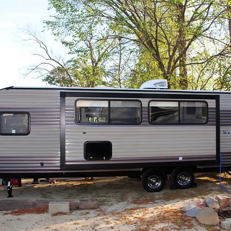 Camper set up at Busco Beach.
