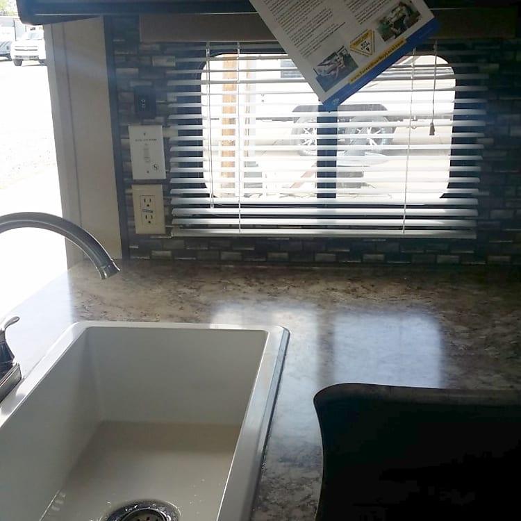 Large farm house kitchen sink.