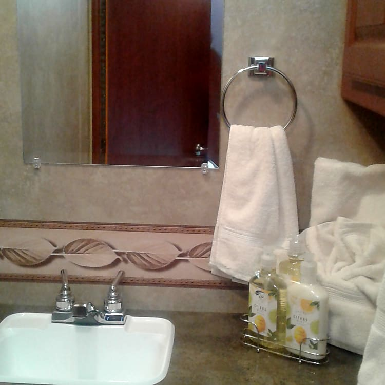 Bath towels and hand towels are set and ready
