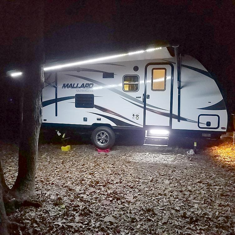 Setup at night with lights on.