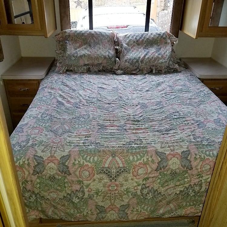 Comfy queen-RV bed.