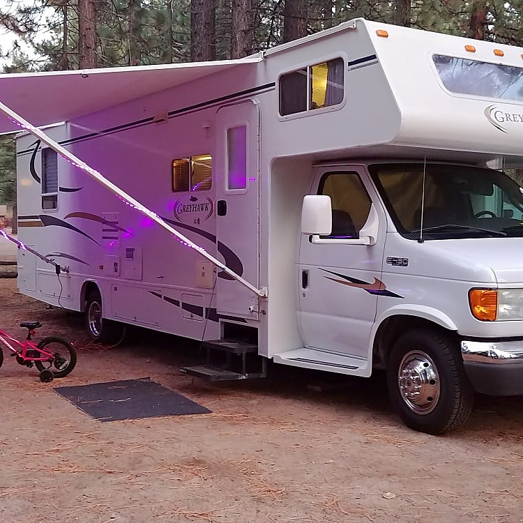 Bike not included. Our daughter wouldn't like that much :) Outside LED lights come with the camper though!
