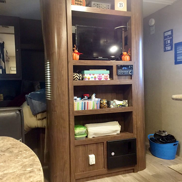 Entertainment center and storage! Surround sound can be played inside or outside the trailer. TV can be included for $5 per day.