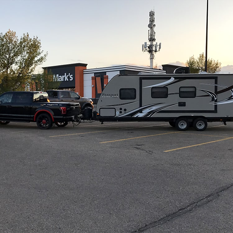 Our first photo before hitting the road on our first venture. Pulled with our 1/2 ton. Equalization bars even the load nicely.