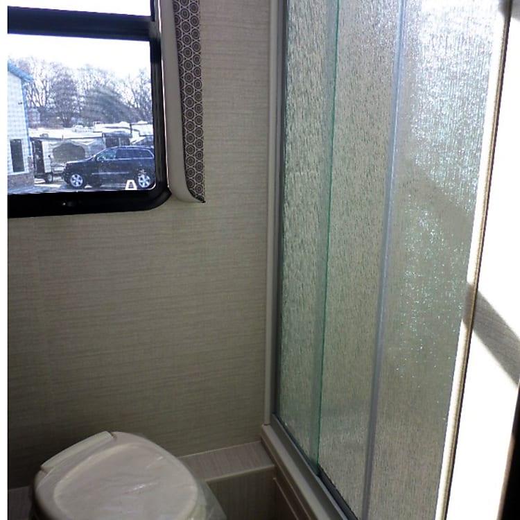 Bathroom shower with door