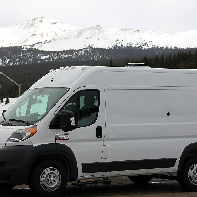 Rocky has front wheel drive, which is great in the snow and provides a lower platform than other camper vans.