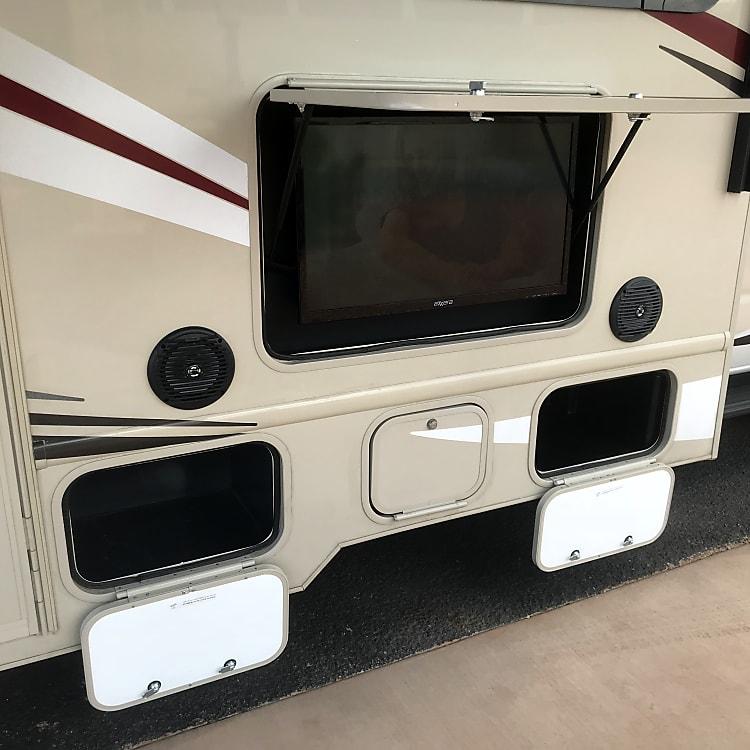 Outdoor TV and speakers are great for enjoying entertainment outdoors
