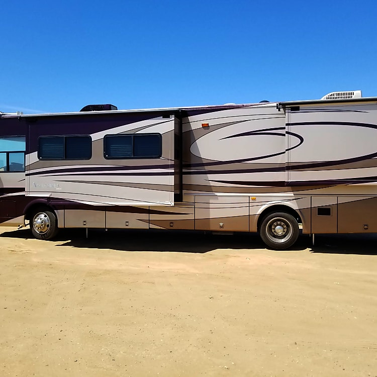 Side view of the motor home