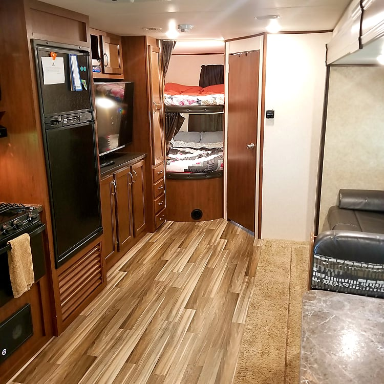 Best trailer layout available.  A couch that actually faces the 50 inch TV.