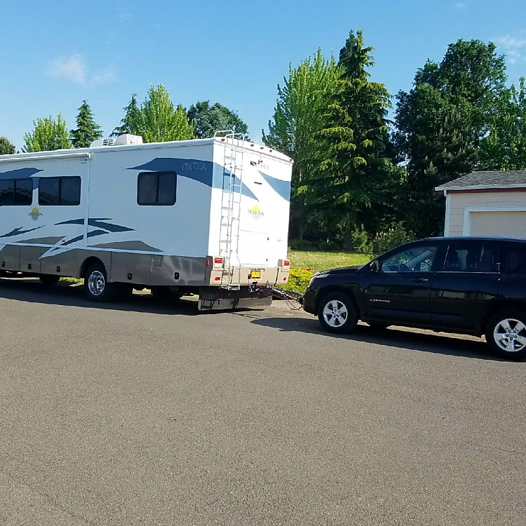 Also available to rent is a 2014 Jeep Compass to tow behind the RV.