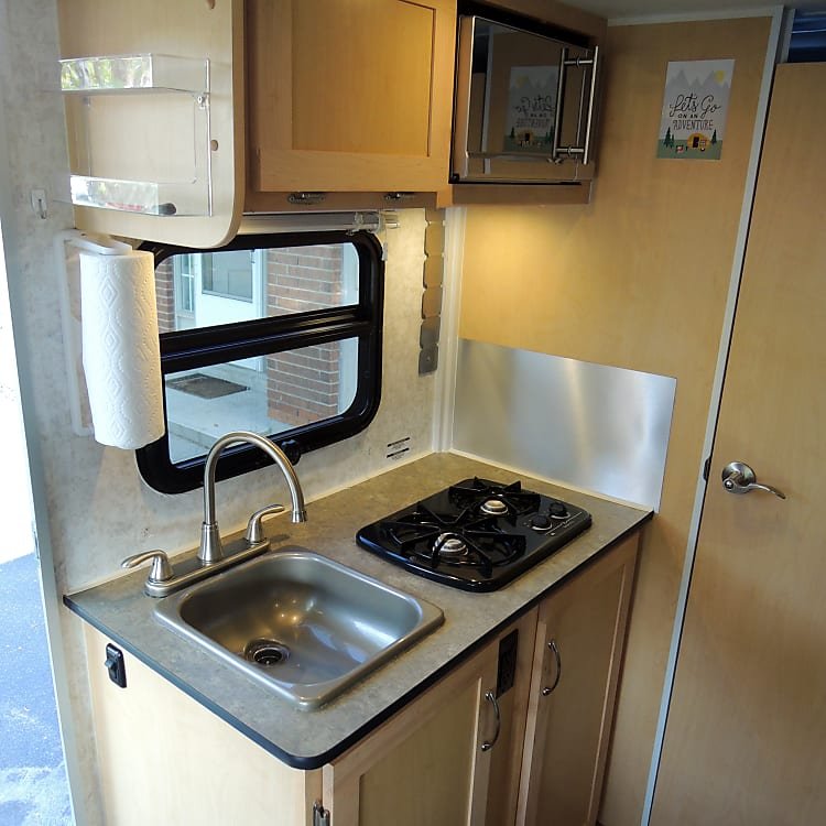 Kitchen - Sink, Propane Stove, Microwave