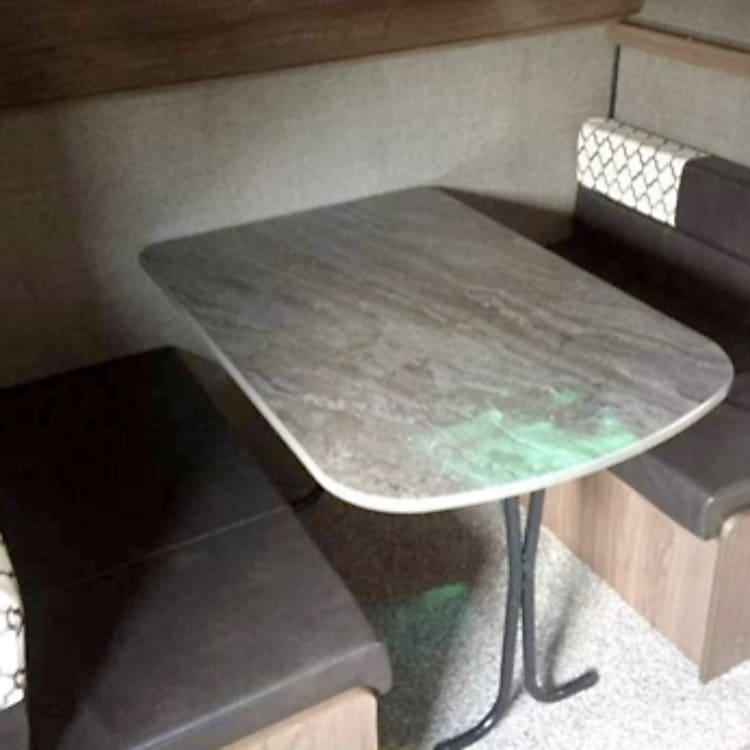Bunkhouse table setup.