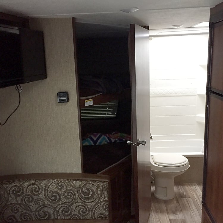 Bunk beds for the kids. Full bathroom with stand up shower.